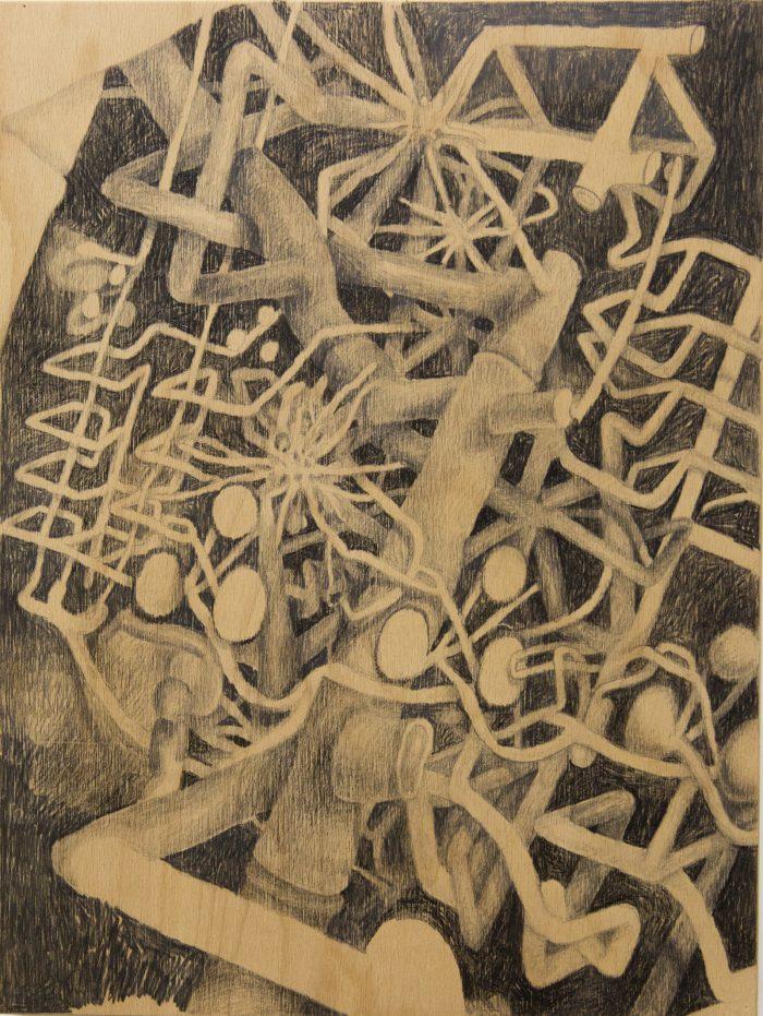Entanglement I, 2019 | Charcoal on wood panel | 30cm x 40cm
