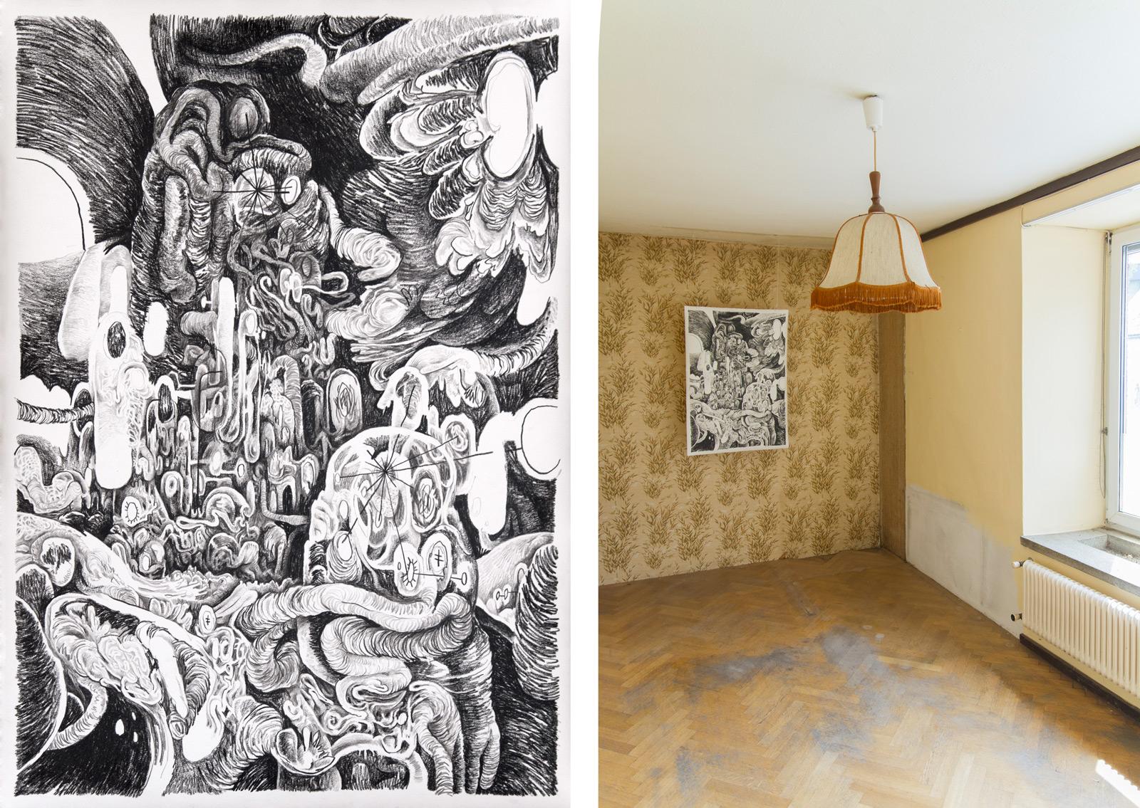 A Life V, 2014 | Crayon on paper | 76 x 108 cm