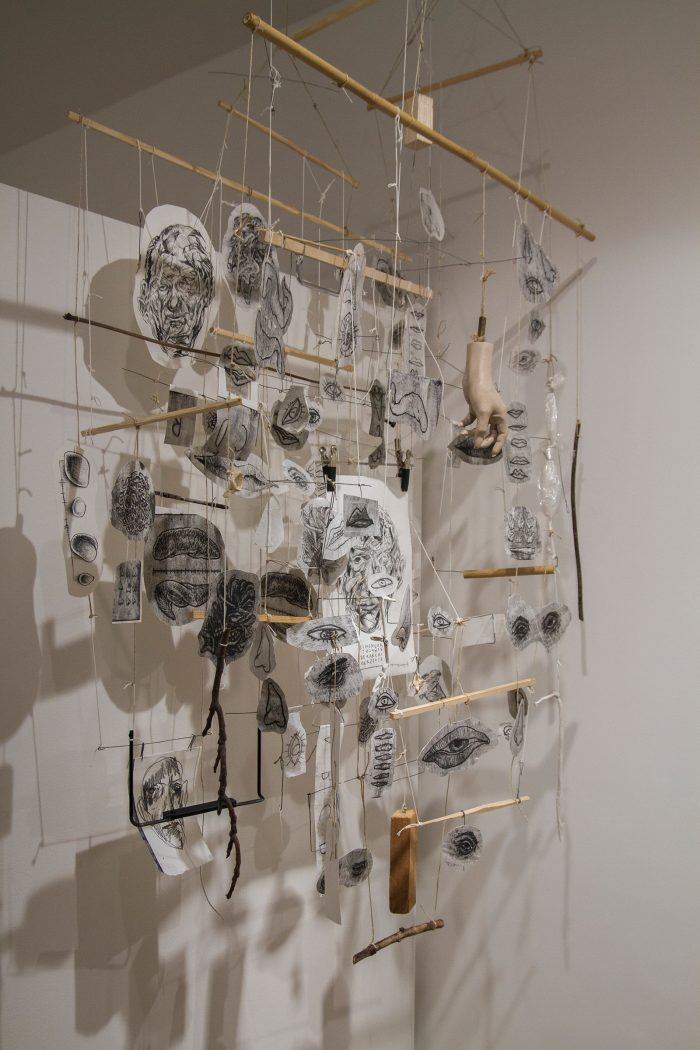 The Archivist II, 2013   100cm (X) x 200cm (Y) x 40cm (Z)   Paper, wood, strings, metal, plastic