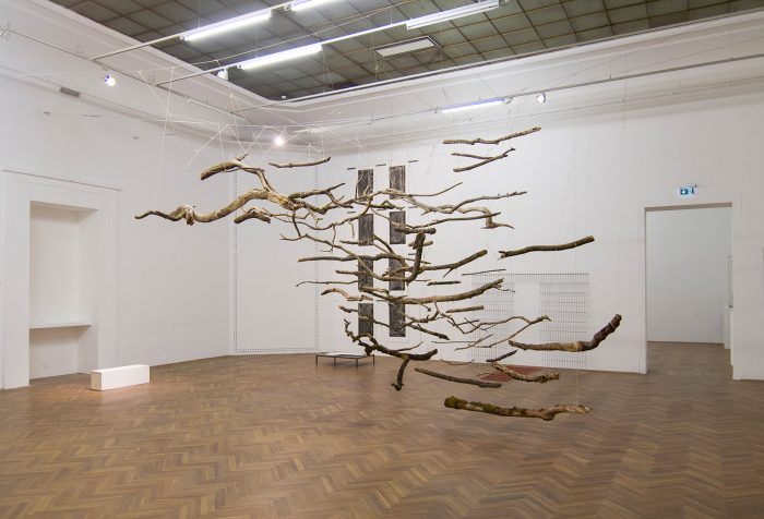The Sublime VI, 2015 | 500cm (X) x 500cm (H) x 300cm (Z) | Dead wood, strings