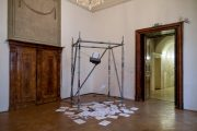 Thought Machine, 2013 (Installation) | Object: 150cm (X) x 150cm (Y) x 200cm (Z) | Ink-jet printer, strings, scaffolding, Mixed media on Paper